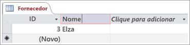 Trecho de tela da tabela Fornecedor mostrando duas linhas com ID