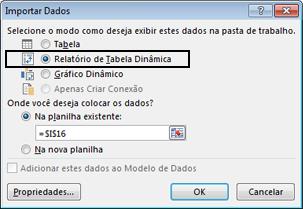 Caixa de diálogo Opções de Importação