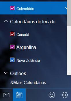 Adicionar um calendário de feriados no Windows 10