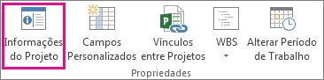 Informações do projeto na guia Projeto