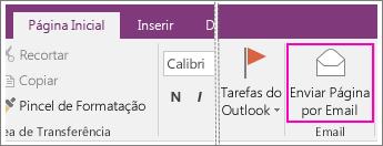 Captura de tela do botão Enviar Página por Email no OneNote 2016.