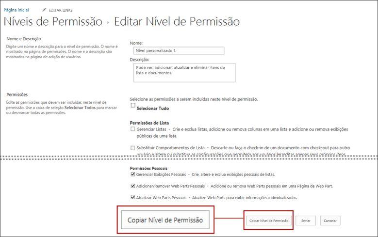 botão copiar nível de permissão.