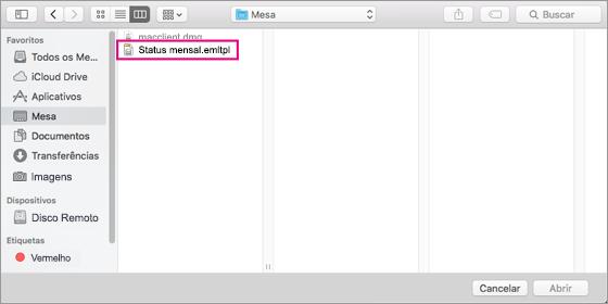 Selecionar o modelo de email que você deseja usar