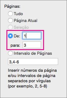 """Imprima um intervalo de páginas, inserindo uma página de início em """"De"""" e uma página final em """"a""""."""