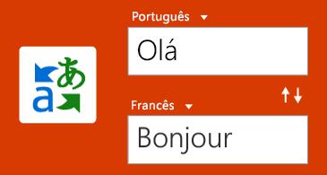 Botão Tradutor e uma palavra em inglês e a tradução em francês
