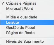 Como selecionar o Layout na caixa de diálogo Imprimir
