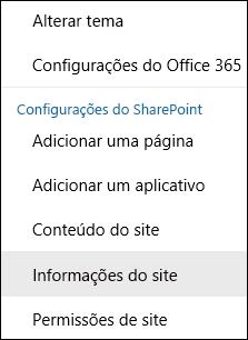 Captura de tela mostrando a opção do menu Informações sobre o Site do SharePoint.