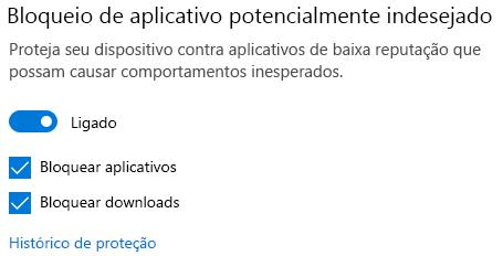 O controle de bloqueio de aplicativos potencialmente indesejados no Windows 10.