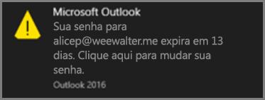 Uma imagem da notificação que o usuário vê quando a senha está perto de expirar.