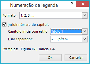 Use a caixa de diálogo Numeração da Legenda para adicionar números de capítulos às legendas.