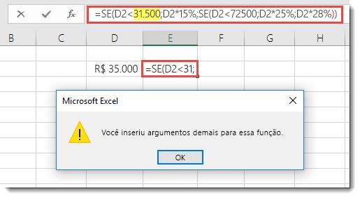 Mensagem do Excel quando você adiciona vírgula a um valor