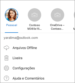 Captura de tela de alternância entre contras no aplicativo do OneDrive no iOS