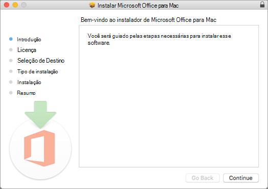 """Primeira tela de instalação do Mac 2016 com """"Continuar"""" realçado"""