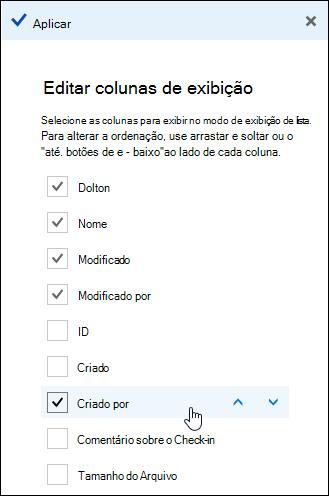 Organizar colunas em uma biblioteca de documentos