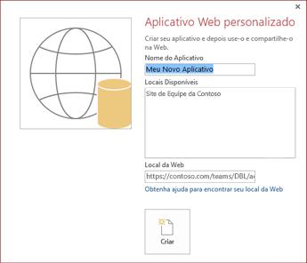 A nova caixa de diálogo de aplicativo da Web personalizado mostrando o Site da Equipe da Contoso na caixa Locais Disponíveis.