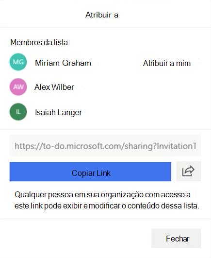 Captura de tela mostrando o menu atribuir a aberto e a opção de atribuir aos membros da lista: Miriam Graham, Alex Wilber e Isaiah Langer, bem como a opção de copiar e compartilhar o link de lista.