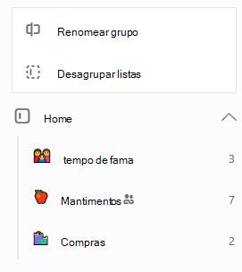 Grupo Home é selecionado com a opção para renomear listas de grupo ou desagrupar em aberto