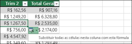 Opção para substituir as fórmulas existentes em uma coluna calculada quando uma fórmula é diferente do restante