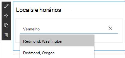 A Web Part de relógio internacional para sites do SharePoint, inserindo um local e selecionando em um menu suspenso de resultados da pesquisa