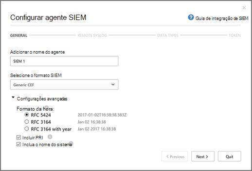 Selecione o formato SIEM e configurações avançadas