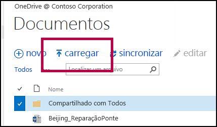 Botão Upload na Barra de comando rápido no OneDrive