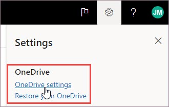 Selecione OneDrive configurações
