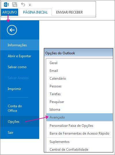Arquivo > Opções > Avançado
