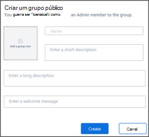 Captura de tela: criar uma página de grupo público