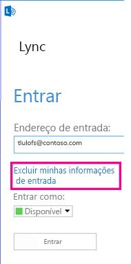 Entrada no Lync com botão de informações de sinal de exclusão realçadas