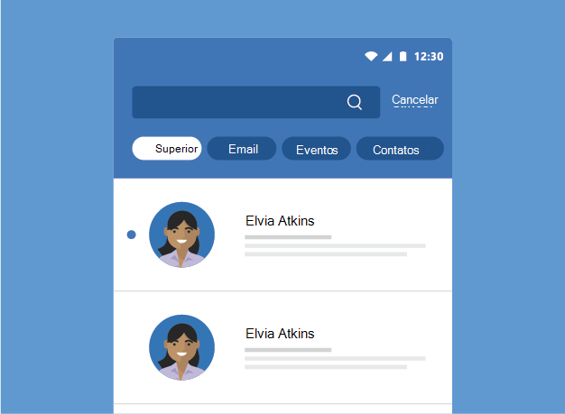 Mostra os resultados da Pesquisa do Outlook