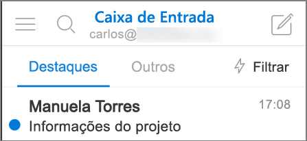 Imagem da aparência do Outlook no iPhone.
