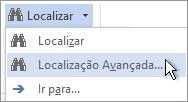 Opção Localização Avançada no menu Localizar