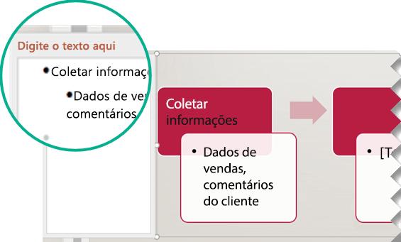 Digite o texto do elemento gráfico digitando o editor de texto à esquerda do elemento gráfico.