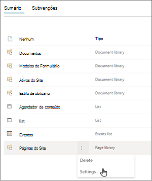 Imagem da página de conteúdo do site com as releições selecionadas para páginas do site. O cursor está pairando sobre Configurações.