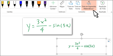Equação manuscrita e mesma equação convertida em texto e números formatados