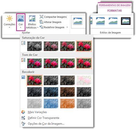 botão cor, menu aberto a partir da guia ferramentas de imagem formatar
