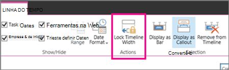 Opção de largura de bloqueio de linha do tempo de tarefas na guia Cronograma