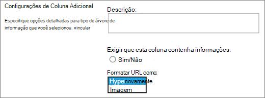 Opções de coluna de imagem/hiperlink