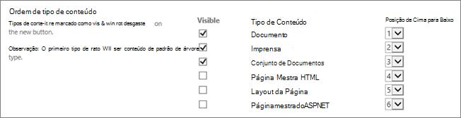Alterar ordem de novo documento ou ocultar a tela de opções