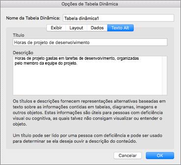 Caixa de diálogo Alt Text para uma Excel PivotTable.