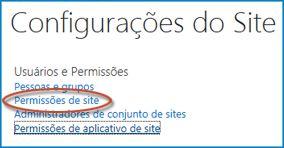 Captura de tela de um conjunto de opções na página Configurações do Site que mostra o link Pessoas e Grupos