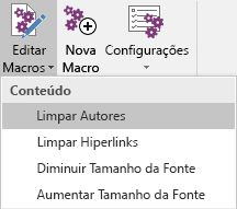 O menu Editar Macros no Onetastic para OneNote