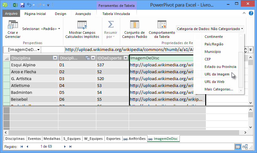 Definir a categoria de dados no PowerPivot