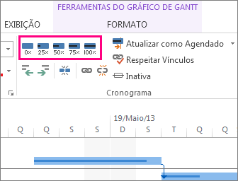 barras de conclusão de tarefas na guia de formato