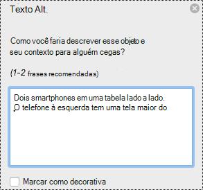 Painel Texto Alt no Excel para Mac