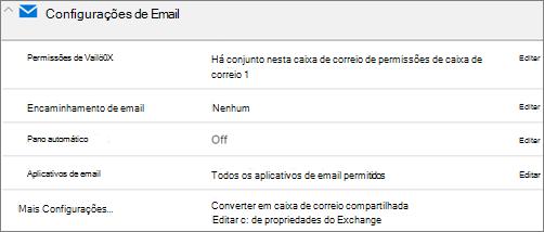 Captura de tela: Converter a caixa de correio de usuário para caixa de correio compartilhada