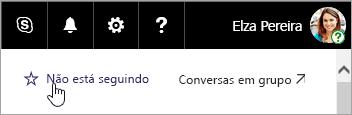 Uma captura de tela do botão Acompanhar um site do SharePoint.