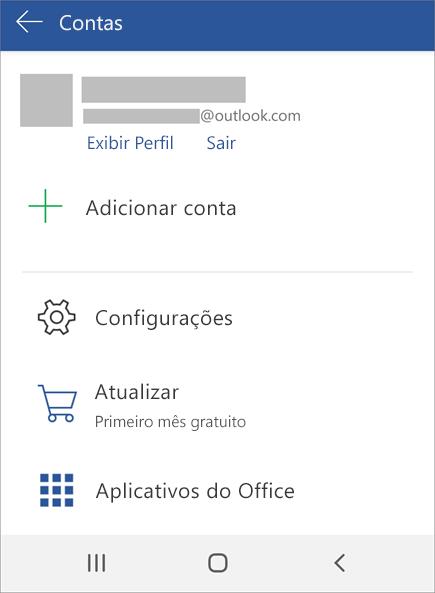 Exibe a opção Saia do Office em um dispositivo Android