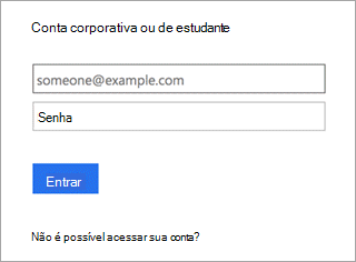 Captura de tela do Yammer entrar