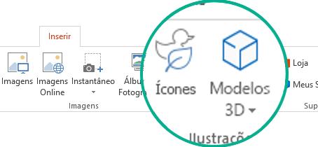 Os botões para Ícones e Modelos 3D na guia Inserir da faixa de opções da barra de ferramentas no Office 365